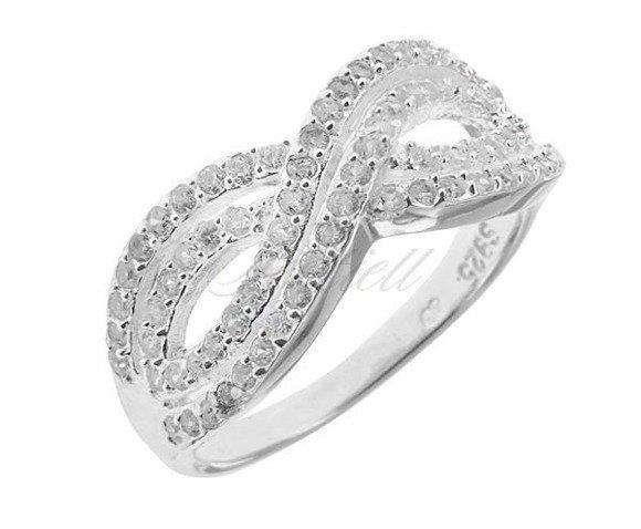 Srebrny masywny pierścionek Nieskończoność pr.925 Cyrkonia biała