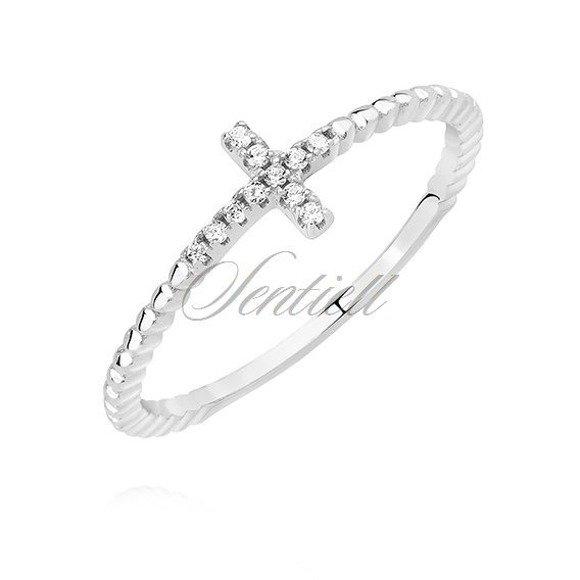 Srebrny pierścionek pr.925 delikatny krzyżyk z białą cyrkonią
