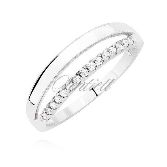 Srebrny podwójny pierścionek pr.925 z białymi cyrkoniami