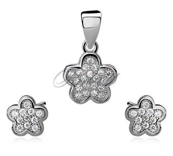 Srebrny stylowy komplet pr.925 Cyrkonia kwiatki