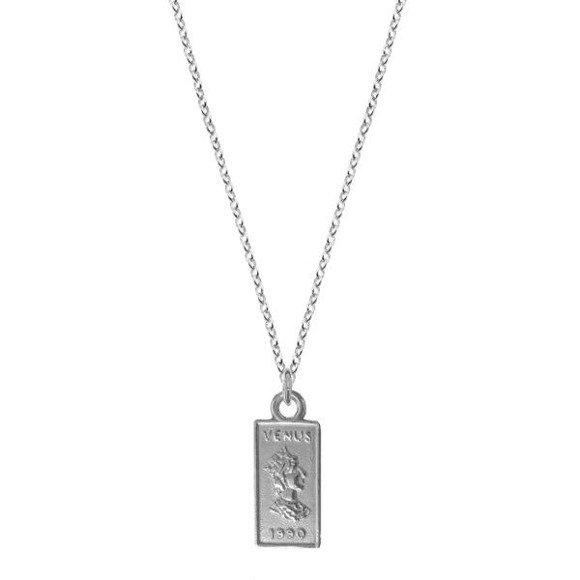Venus naszyjnik vintage srebrny z prostokątną blaszką