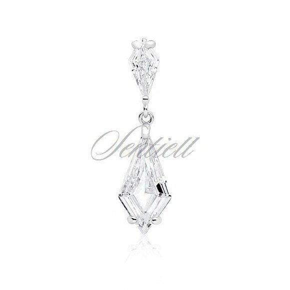 Zawieszka srebrna elegancka ślubna z dużymi kryształami pr.925